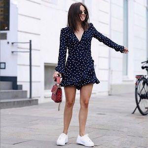 Blogger Blue Star Print Ruffle Long Sleeve Dress S